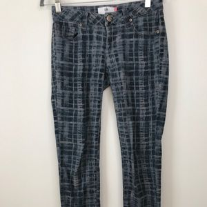 Cabi #3047 Grid Skinny Jeans 2 Blue Plaid Low Rise